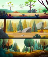 Stylized backgrounds practice by Spighy