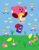 Rayman with Kirby by gemstonelover49
