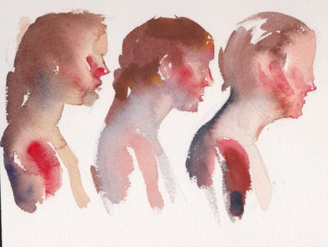 Watercolor profile studies by Alex Bodnar by Taurine75