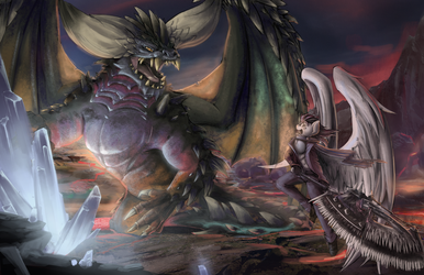 An Epic Face Off (MHW) by blvckmagic