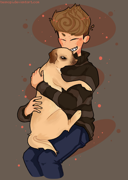 my irl best friend with his dog by teanopi