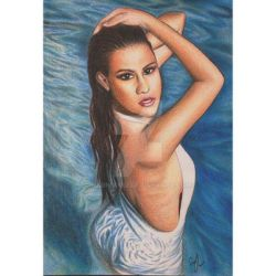 Selena Gomez Swimsuit Drawing by Narniakid