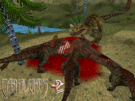 Carnivores Clash: Ceratosaurus and Majungatholus. by Keegz97