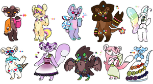 Food themed anthros (1/10 open) by Sweetnfluffy-adopts