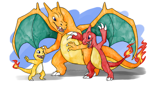Charmander Family [SpeedPaint and brushes DL] by DarkmaneTheWerewolf