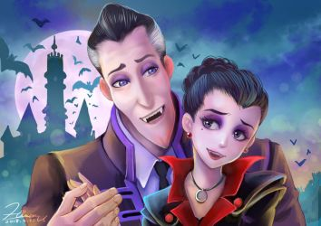 Dracula and Emma of Monster Family by HiroUsuda