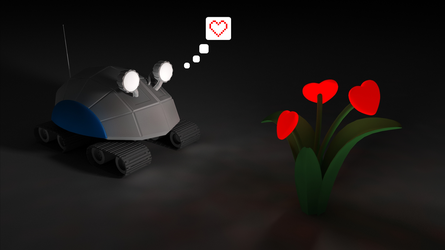 The robot and the flower by HolgerL