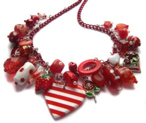 Red heart necklace by fairy-cakes
