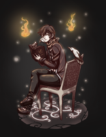 [AT] The bibliophile with white ravens by Wila-Chan