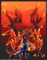blue guy and the red dragon by pleroo