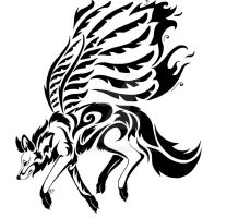:flying tribal wolf: by Ashenee