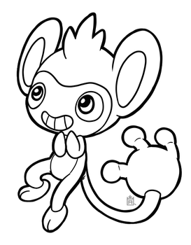 Aipom free to use line art! by Scuterr