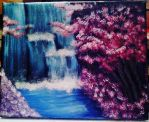 Cherry blossoms and waterfall landscape by AkiDrawings