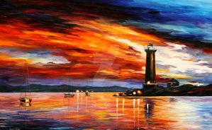 By The Lighthouse by Leonid Afremov by Leonidafremov
