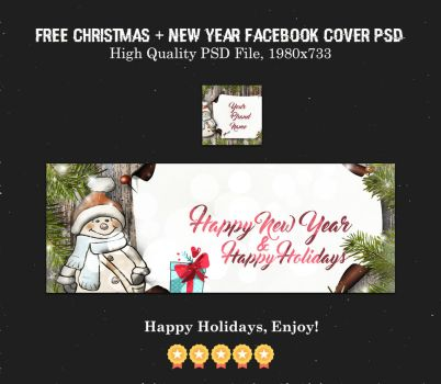 Free Christmas + New Year Facebook Cover PSD by creativewhoa