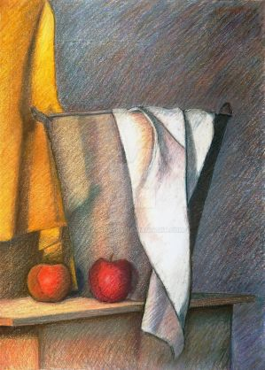Still life - Metallic bucket, fabrics and apples by SigmaVita