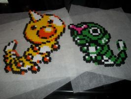 Caterpie and Weedle Perler