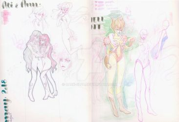 Sketchbook Scan : Cardians : Sailor Moon : by Dark-elfa