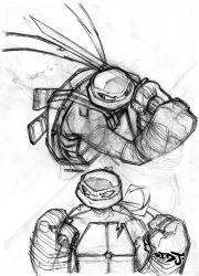 Leo and Raph pencil sketch by Red-J