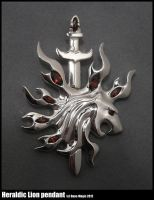 Heraldic Lion with sword pendant by EagleWingGallery