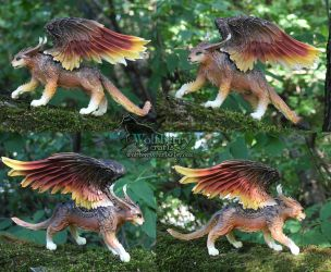 Bronze winged cat SALE! by WolfberryCrafts