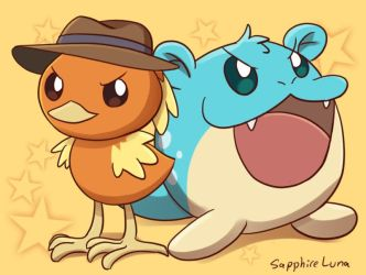 Torchic and Spheal by sapphireluna