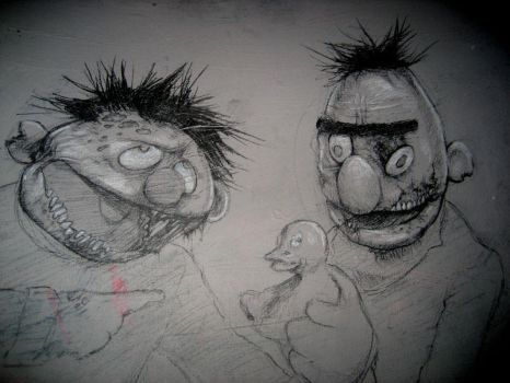 Bert and Ernie Zombies by KillerNapkins