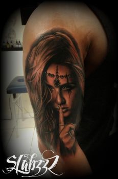 sexy Chicano chick portrait tattoo by CalebSlabzzzGraham