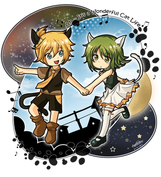 Gumi and Len: Cat Life by SandraGH