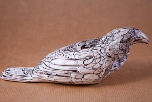 crystal heart porcelain crow- side by buraczek