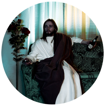 jesus watching tv by mictk666