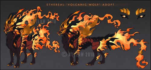 Ethereal volcanic wolf adoptable [FLAT SALE) by Autlaw