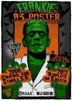 Frankenstein .PSD HALLOWEEN POSTER Download A3 by TheAlikA