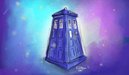 TARDIS iPad Pencil Painting by TheBigDaveC