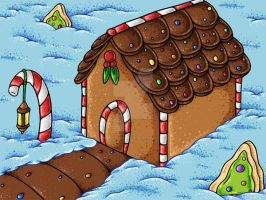 Cozy Candy Gingerbread House by JellySoupStudios