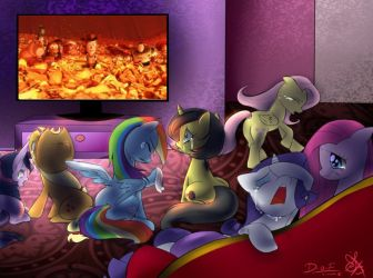Mane 6 watching Toy Story 3 by Ry-BluePony1
