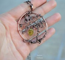 Life tree copper wire pendant by IanirasArtifacts