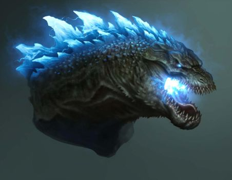 Godzilla Head Design-Atomic Breath by daitengu