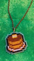 Kirby Pancakes Cross Stitched Necklace by Sirithre