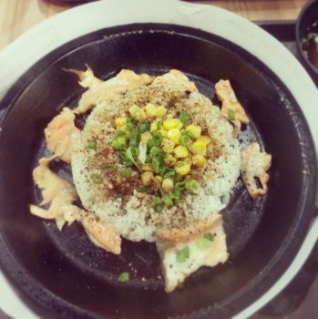 Salmon Hotplate with Buttered Rice and Corn by nosugarjustanger