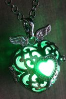 Green Glowing Black Winged Heart Pendant by CatherinetteRings