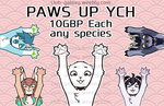 COM - PAWS UP Sticker Commissions by TrashBambi