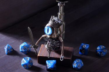 Steampunk Modron king with blue eye and dice no.2 by CatherinetteRings