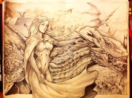khaleesi and Drogon WIP by Chaos-Draco
