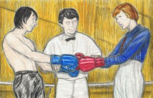 Iggy Pop and David Bowie boxing by gagambo