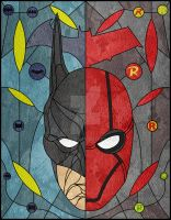 Batman/Red Hood Stained Glass by jmascia