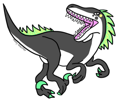 I drew this raptor dino to adopt it by MoldyMonster