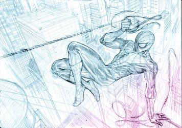 Spidey and the city pencil stage by Mogorron