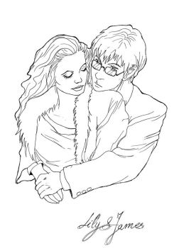Lily and James black and white by pottering