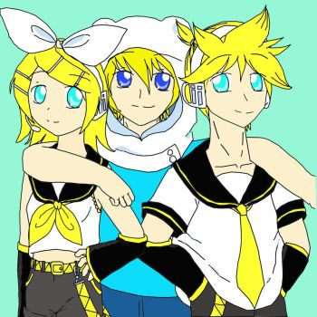 Kagamine Twins and Finn The Human by MidnightGlade94